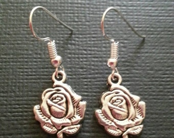 Silver Large Rose Earrings