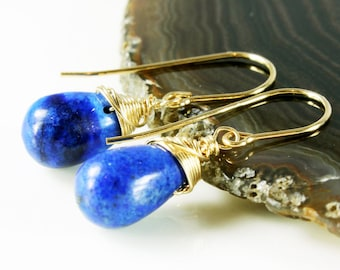 Lapis Lazuli Earrings, Gold-filled wire wrapped earrings, dangle earrings, fine gold earrings, cobalt blue, royal blue, gift for her, ER2311