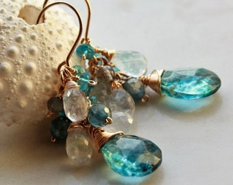 London Blue Topaz Earrings, Goldfilled wire wrap, blue white gemstone cluster earrings, moonestone, labradorite, blue kyanite, gift for her