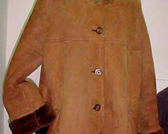 Sheepskin Coat/English Shearling Calf Length Coat/Rare Morland's England Coat/Authentic Sheepskin Shearling