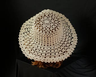 Cowgirl hat Womens wide brimmed hat Lace beach hats Crochet Boho summer hat Off white beige cotton sun hat Festival floppy hats