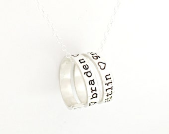 Wrapped Message Necklace - Personalized Sterling Silver Charm - You Choose Text & Length - Custom Hand Stamped Quote, Phrase, Name Jewelry