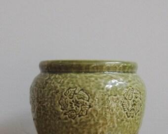 Vintage Olive Green Round Vase, Vintage USA Green Planter, Green Pottery, Leaf Planter
