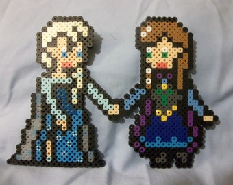 Frozen Elsa and Anna Sisters Perler Bead Art
