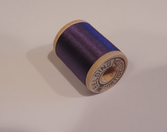 Antique 1940's Belding Corticalli  Pure Silk Hand Sewing Embroidery Thread 50 Yd. Wooden spool Shade 6250 Pansy Purple