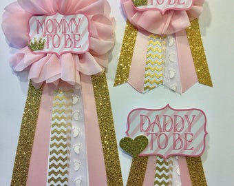 Pink and gold Baby Shower Pin Mommy to be pin Flower Ribbon Corsage Glitter gold glitter gold chevron mama mom mommy Baby Shower corsage