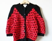 Red Chenille Vintage Chunky Cardigan / Rad Retro Statement Sweater / Vintage Knit Cardigan in Bright Red and Black