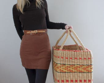 Oversized Big Woven Basket Tote Geometric Pattern Jungalow Style