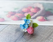 SALE Colorful flower ring - floral ring - botanical ring - woodland jewelry - raspberry ring - forget-me-not ring - nature inspired ring