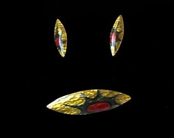 1960s Modernist Jules Perrier earrings and brooch enamel set