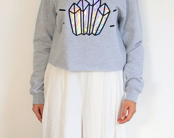 Crystal cropped jumper - Grey / Rainbow Holographic
