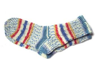 Hand knit womens wool socks, colorful knit socks, wool socks women