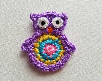 """1pc 3"""" Crochet  PURPLE OWL Applique"""