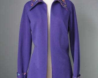 Purple Cardigan / Vtg 70s / Embroidered Purple Cardigan / Double Knit Big Shirt / Open Front Shirt /