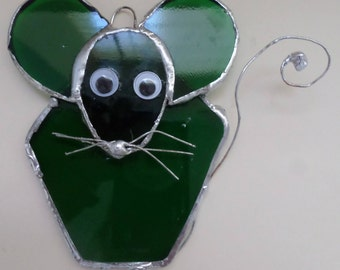 Mouse, green, stained glass, home decor, gift idea
