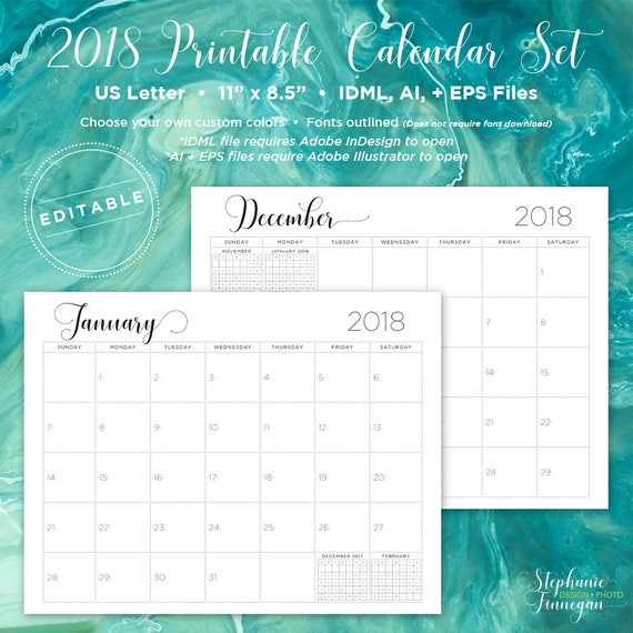 editable 2018 monthly calendar
