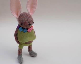 Woollen Rabbit  -  Handmade Plush bunny wearing green felt pants and matching felt smock with floral collar.
