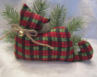 Christmas Cat Doll, Primitive Cat, Red and Green Plaid Kitty Cat Shelf Sitter