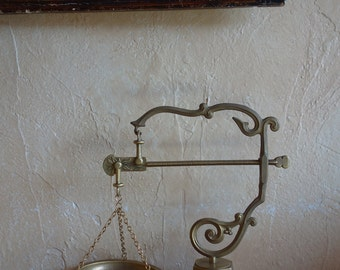 Beautifully Ornate, Antique French, Balance, Scales, finished in Brass on Brass Base Stand with exceptional detail - For decorative purposes