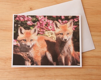 Fox Note Card, Baby Foxes, Wildlife Card, Nature Card, Fox Print, Blank Card, Photo Card, Greeting Card, Fox Photography