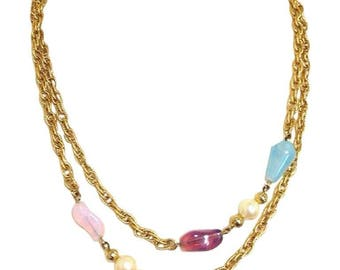 MINT. Vintage Givenchy, Paris, New York  gold tone long chain necklace with purple, orange, pink, and blue motifs and 2 pearls. Double chain