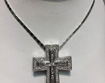 Two Piece Diamond Cross in 14K White Gold