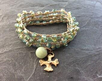 Crochet wrap bracelet necklace - 'keep the faith' beaded crocheted jewelry, Beach boho, yoga bracelet, gift for her by mollymoojewels