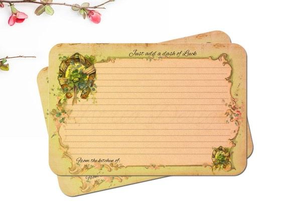 Ireland Recipe Cards, Irish Bridal Shower, Green, Four Leaf Clover, Horse Shoe, Set of 12