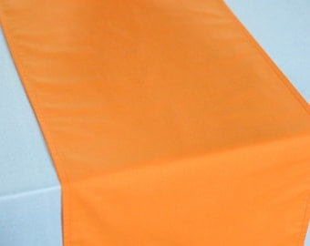 Solid color BLAZING ORANGE table runner, hunters orange wedding, bright orange table linens, custom lengths and colors, made to order
