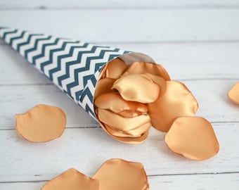 Paper petal cones, navy and white chevron print, rose petal toss, wedding favors, ready to ship