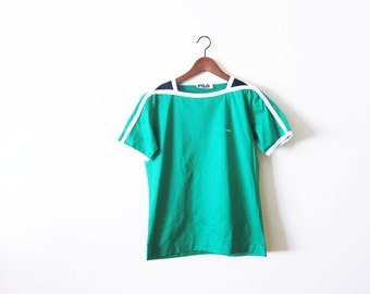 Fila Shirt / vintage 70s FILA tshirt / green boatneck athletic shirt