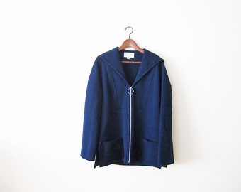 Sailor Coat / Vintage Sailor Jacket / 60s Jacket / Nautical / Navy Blue 1960s Wool Sailor Collar Zip Up Jacket