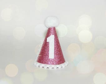 1st Birthday Mini Party Hat // First Birthday Party Hat // 1st Birthday Headband // Pink Birthday Hat // by Born TuTu Rock