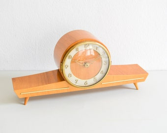 Vintage mantel clock, table clock, Sieco wooden clock, Mid Century Modern brass