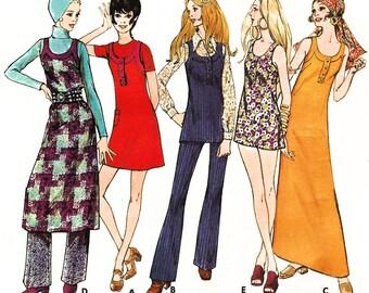 """1970 Deep U Neck Dress/Jumper Wardrobe: Dress, Midi, Mini Dress/Tunic, Band Detail, Button Tab Option, Pants, Butterick 5853, Bust 34"""" Uncut"""