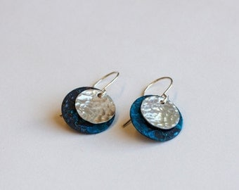 Silver & Blue Earrings - Forged Silver Natural Patina - Weathered Copper - Copper and Sterling disc Earrings - Hammered Rustic Elegant
