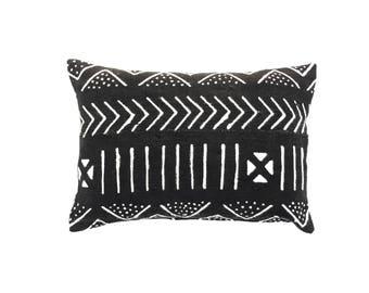 Black Mudcloth Pillow Cover 14 x 20 | African Mudcloth Textile Mud cloth Throw Pillow Mudcloth Lumbar Pillow Cushion Cover Tribal Fabric  2