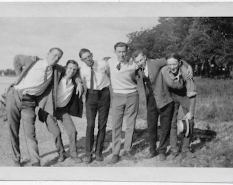 Old Photo Group of Young Men by Lake 1920s Photograph Snapshot vintage
