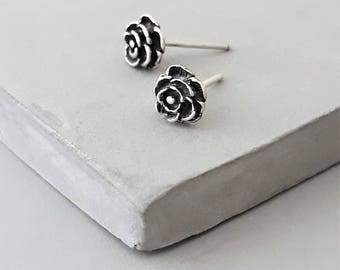 Silver Rose Stud Earrings - Tiny Rose Stud - Sterling Silver Stud Earrings - Tiny Rose Studs - Tiny Stud Earrings - Tiny studs - Ear Studs