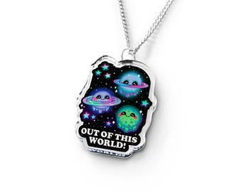 Kawaii Galaxy Necklace - Kawaii Necklace, Geek Gift, Universe Geekery, Soft Grunge, Geek Jewelry, Planet Necklace