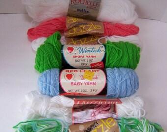 Vintage Lot of 7 Assorted Colors of Partial Yarn Skeins.Fiber Craft Destash.Vintage Yarn.Knitting and Crochet Yarn.Remnant Yarn Skeins.
