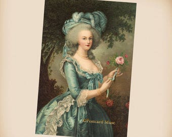 Marie Antoinette With A Rose - New 4x6 Photo Print From A Vintage Postcard IL056