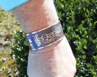 Music Bracelet Cuff, Treble Clef Bracelet, Musical Notes, Music Jewelry, Music Gift, Copper Jewelry, Inspirational Gift, Ready to Ship