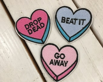 Candy Hearts Patches 3 Pack