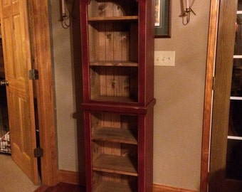 Cupboard, Book Shelf, Cabinet, FREE SHIPPING, Chimney, Pantry, Distressed, Shabby, Cottage, Primitive, Rustic
