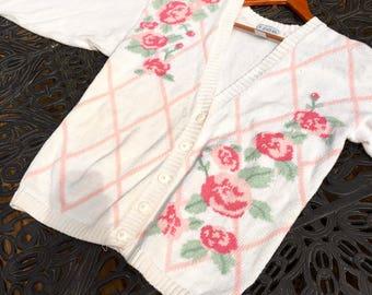 Retro Sweater, Izod, Cotton, Floral, Cute Cardigan