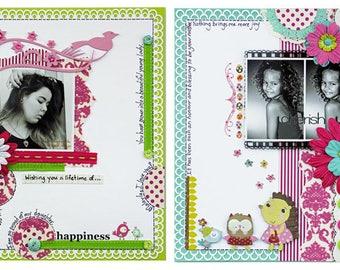 HAPPINESS & CHERISH Scrapbook Kit 2 Page Layouts