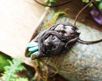 Fox Totem Necklace with Chrysocolla Gemstones. Handcrafted Clay.