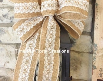 White Lace ~Burlap Wired Edge Ribbon Bow for Wreath, Swag, Lantern, Wedding~Timeless Floral Creations~Free Shipping