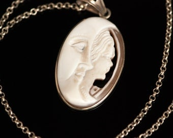 Sterling Italian Shell Cameo Pendant Necklace Man in Moon Handsigned 561 NA